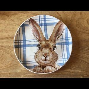 4 Pier 1 Henry Bunny Rabbit Plaid Plates N…